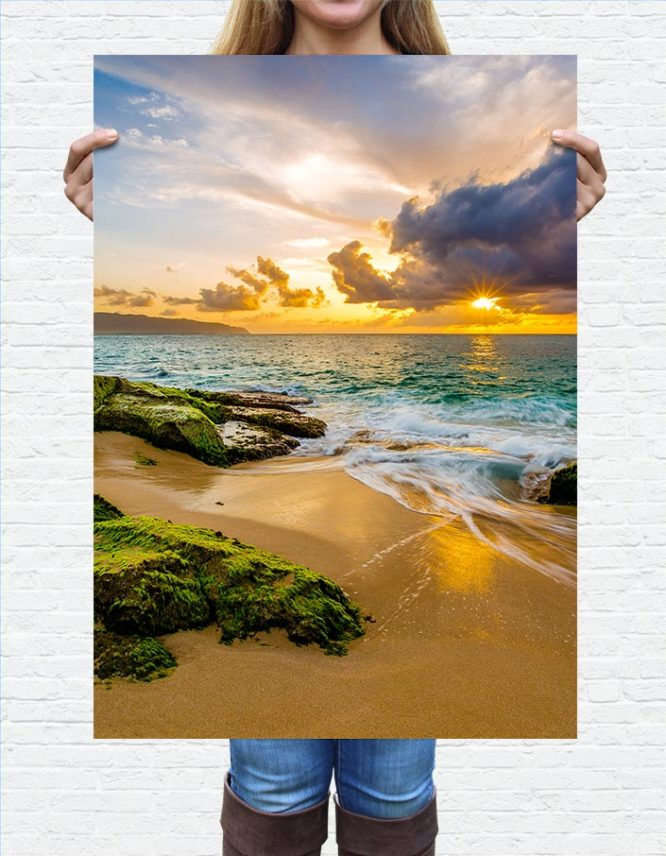 large photography print of ocean landscape
