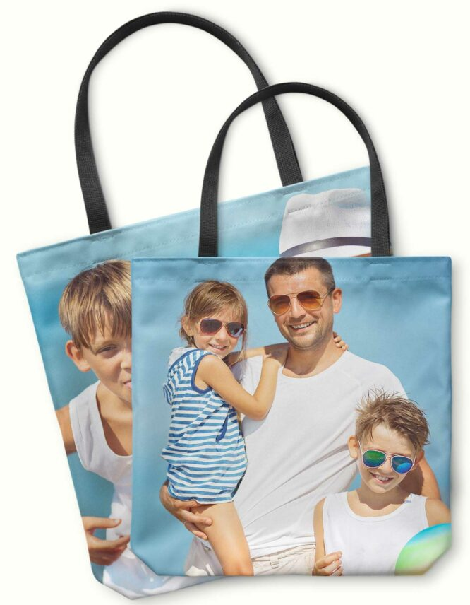 custom double sided photo tote bag