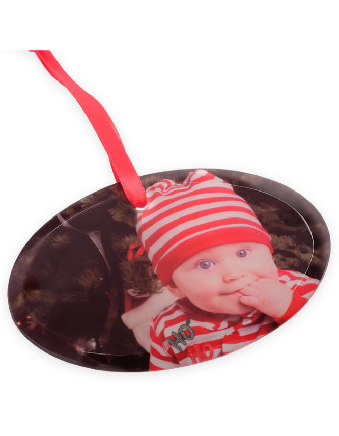 Holiday Frosted Glass Oval Photo Ornament 5