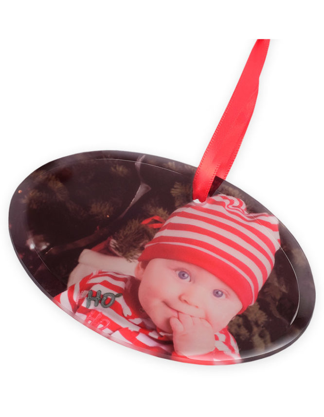 Holiday Frosted Glass Oval Photo Ornament 2