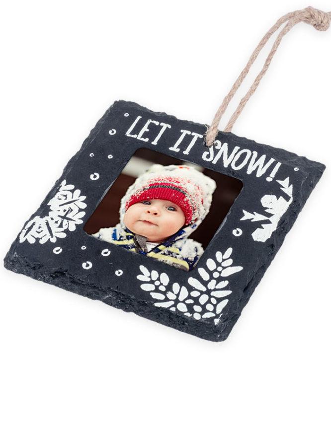 Let It Snow Slate Christmas Photo Ornament 3