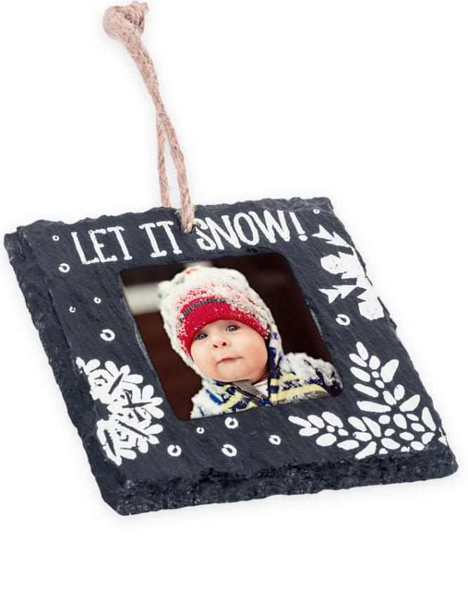 Let It Snow Slate Christmas Photo Ornament 2