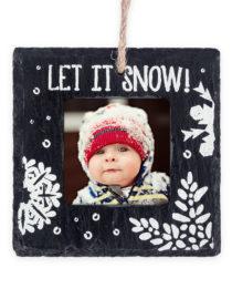 Let It Snow Slate Christmas Photo Ornament 1