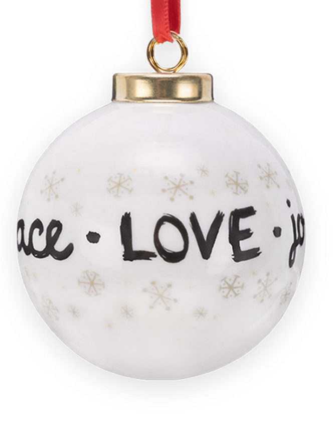 Peace Love & Joy White Globe Christmas Ornament 2