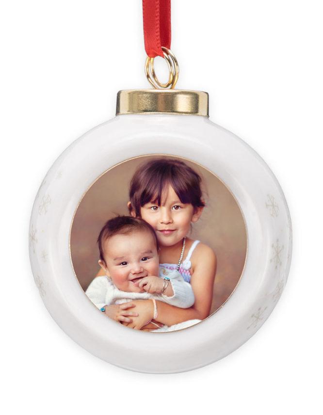 Peace Love & Joy White Globe Christmas Ornament 1