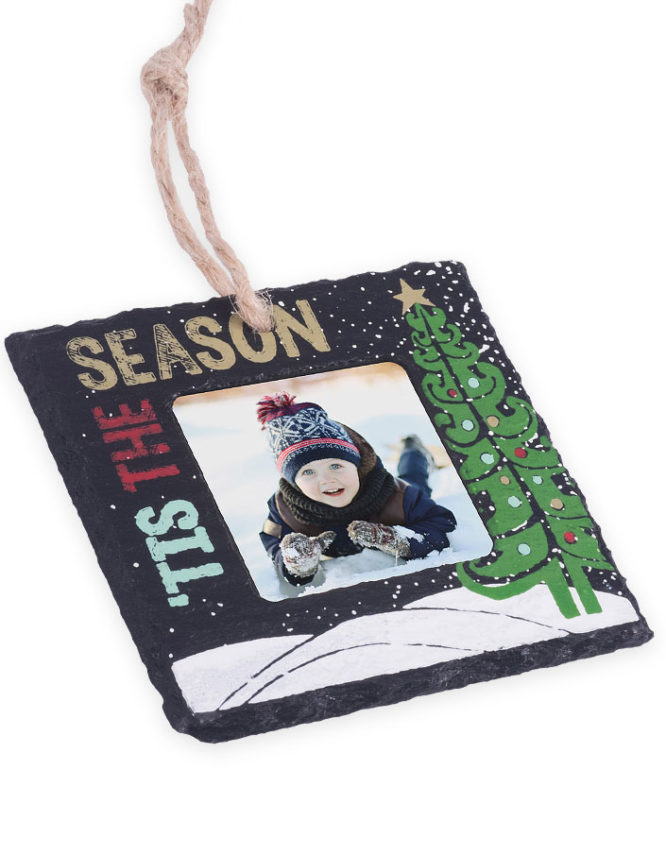 Tis The Season Slate Stone Christmas Photo Ornament