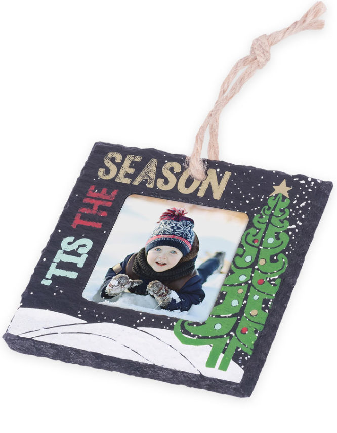 Tis The Season Slate Stone Holiday Photo Ornament