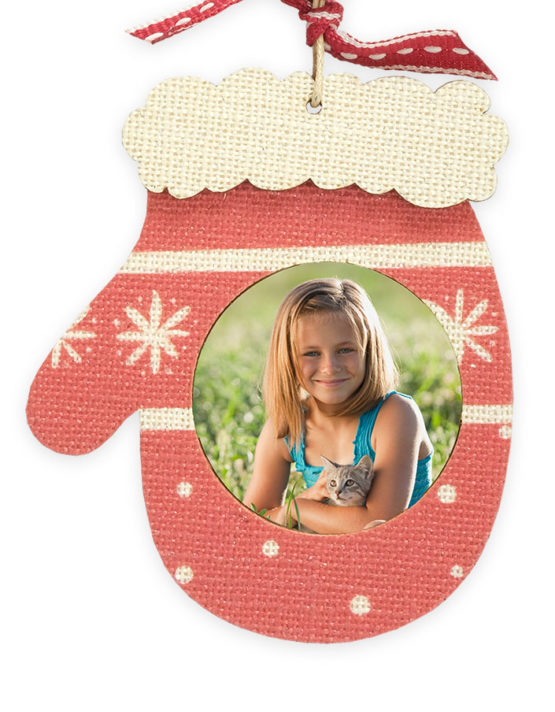 Wood Holiday Mitten Custom Photo Ornament