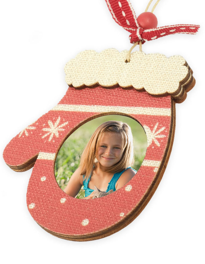 Wood Mitten Photo Ornament 3
