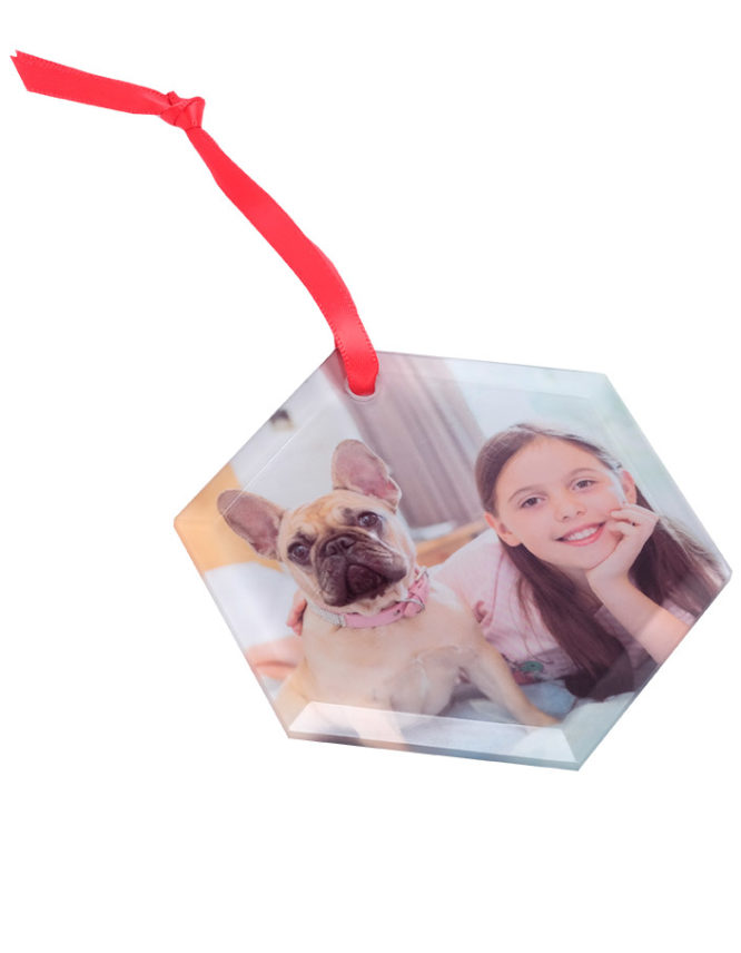 Custom Frosted Glass Hexagon Ornament For The Holidays 3