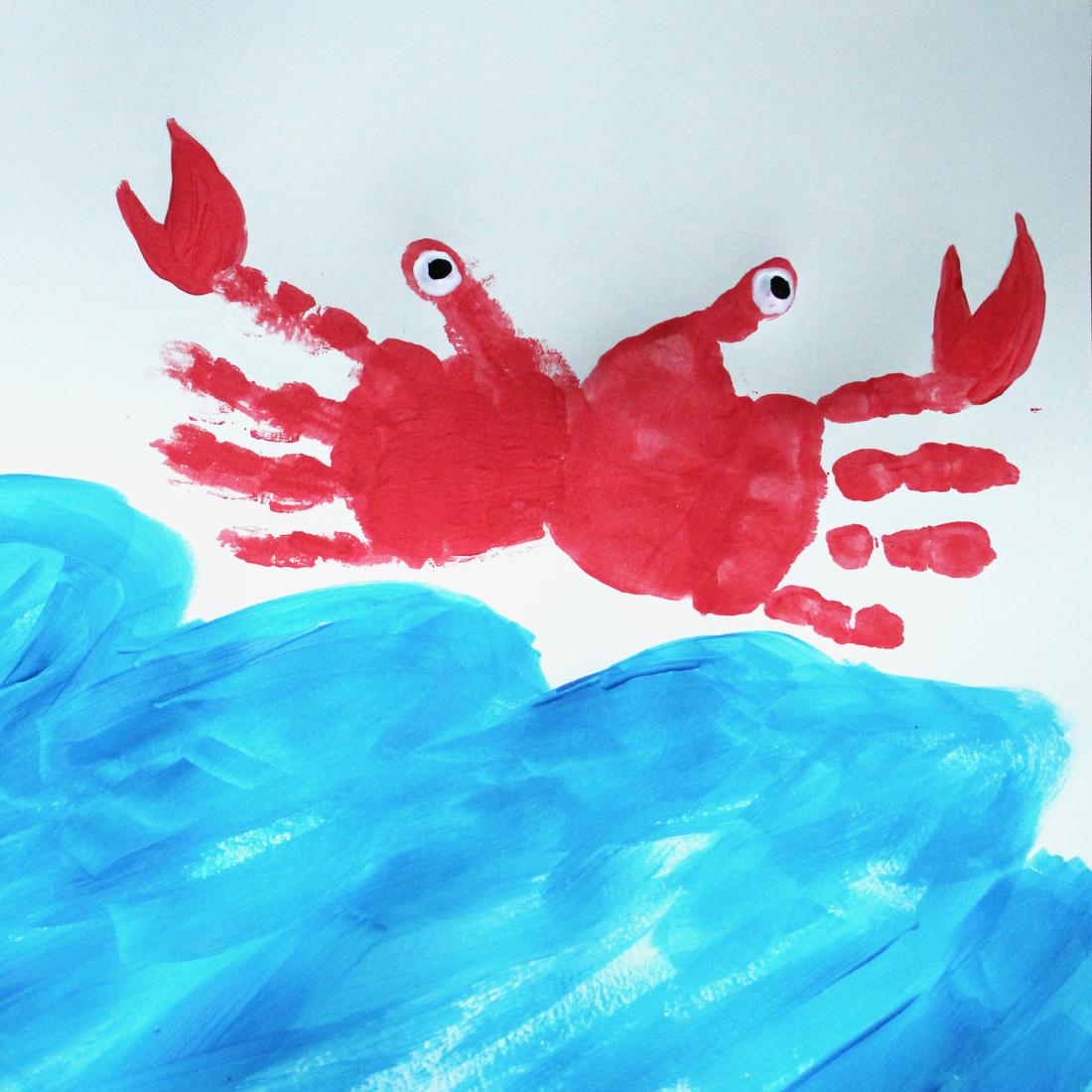 crab hand painting