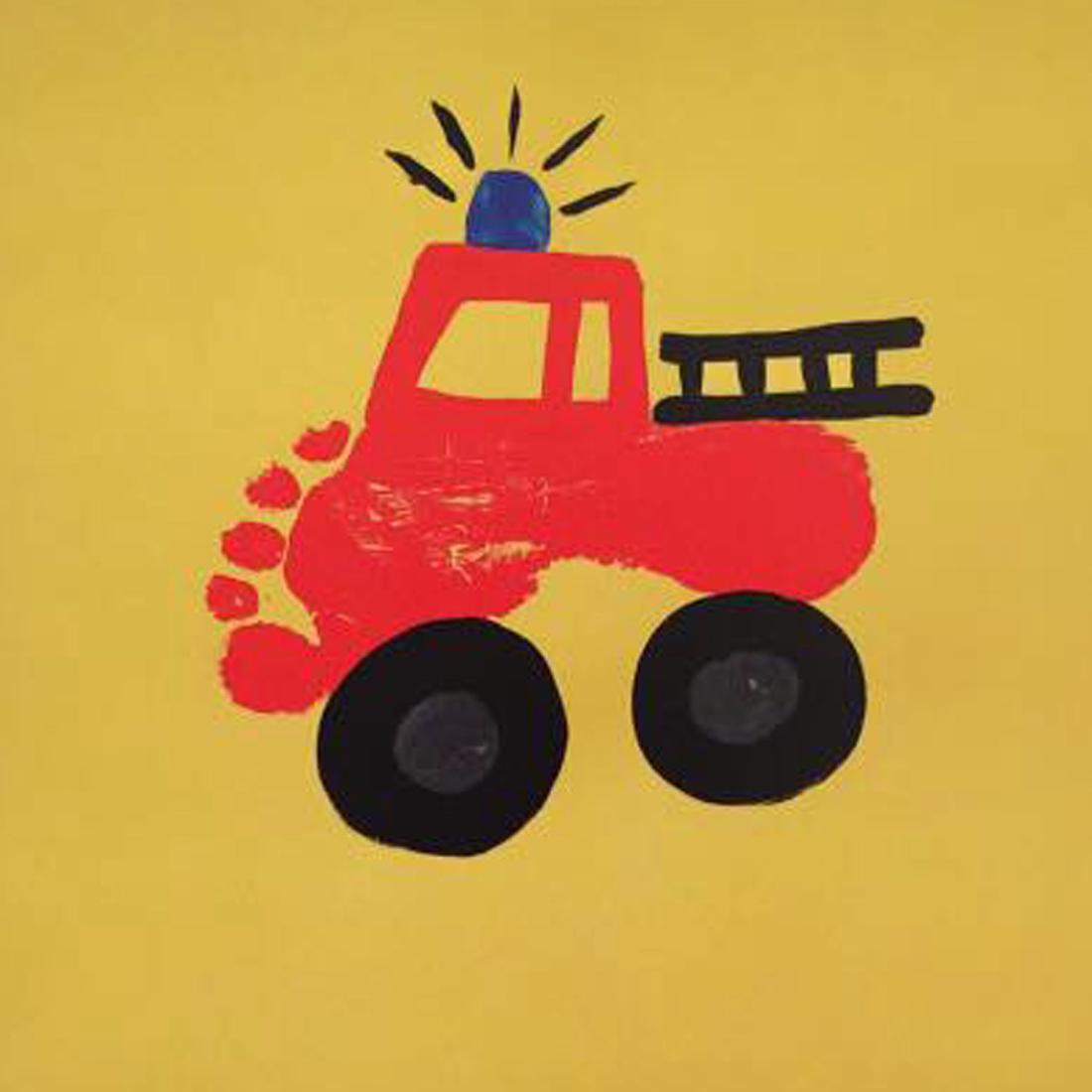 firetruck foot painting