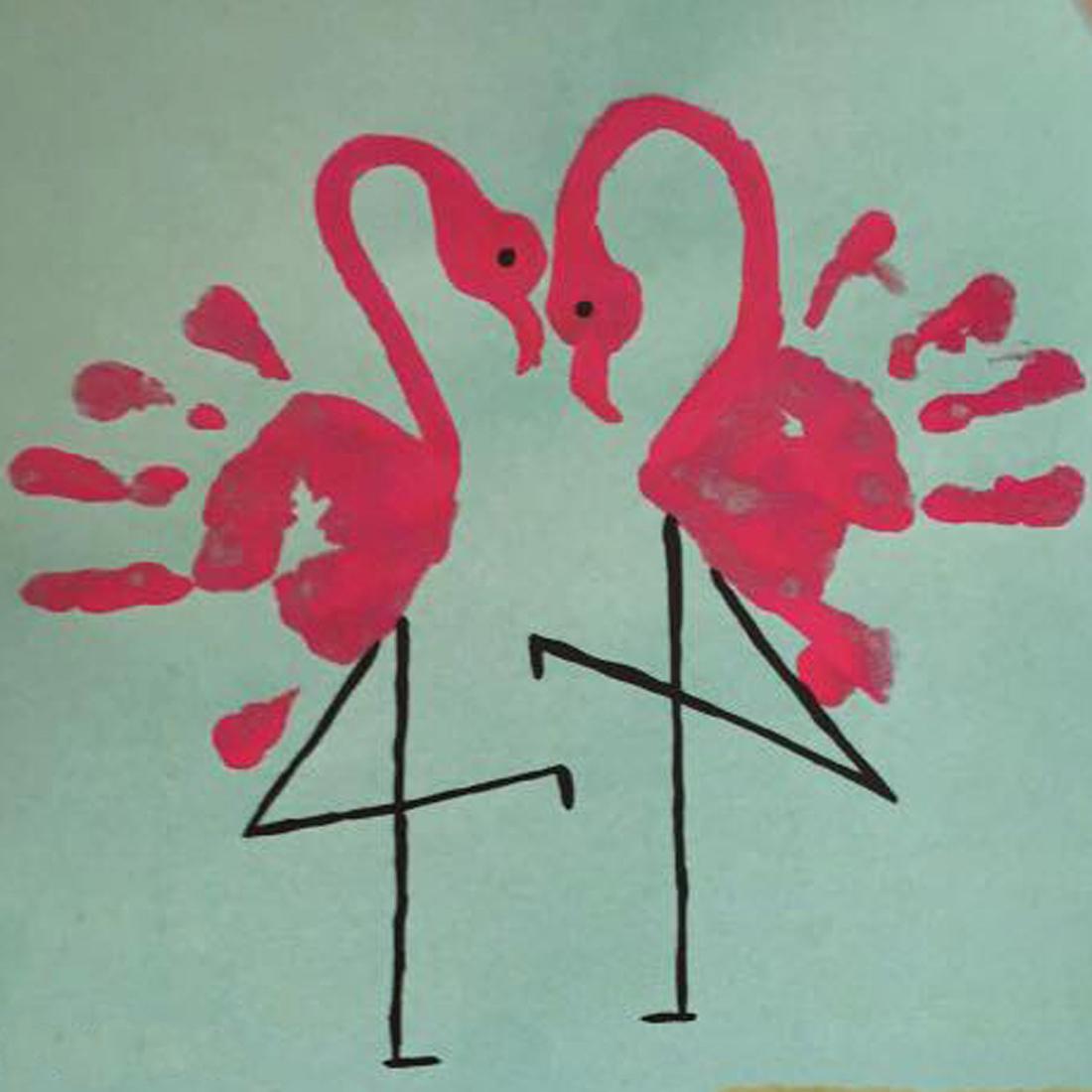 flamingo hand painting