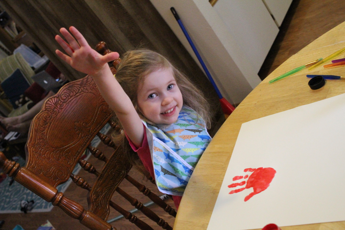 hand painting with kids