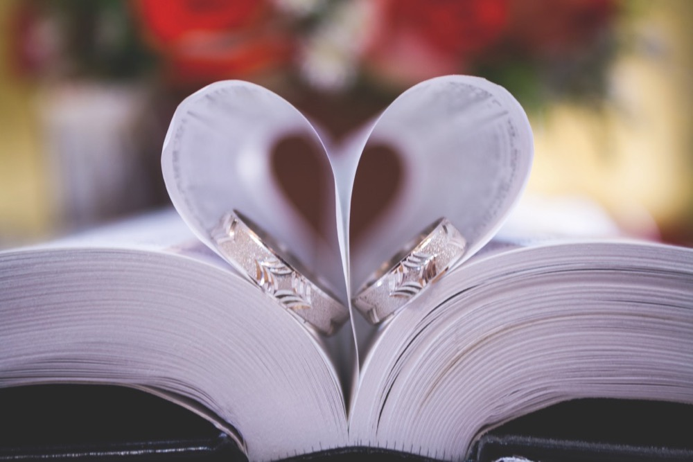 wedding rings love book pages