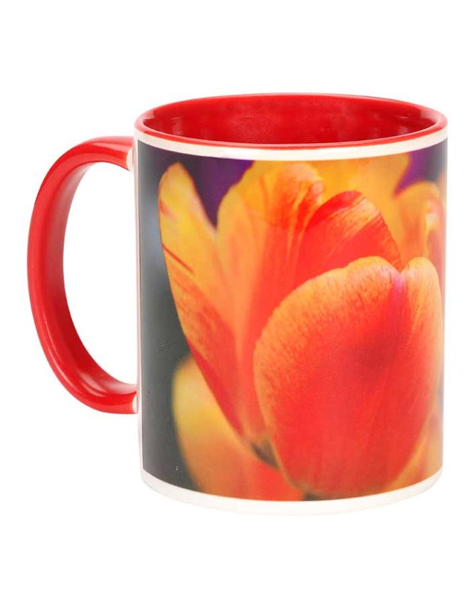 11oz red ceramic photo mug
