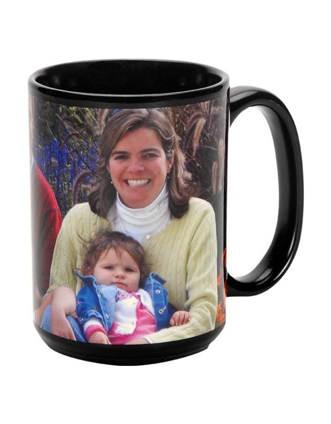 15oz black ceramic photo mug