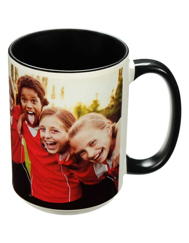 15oz black photo mug