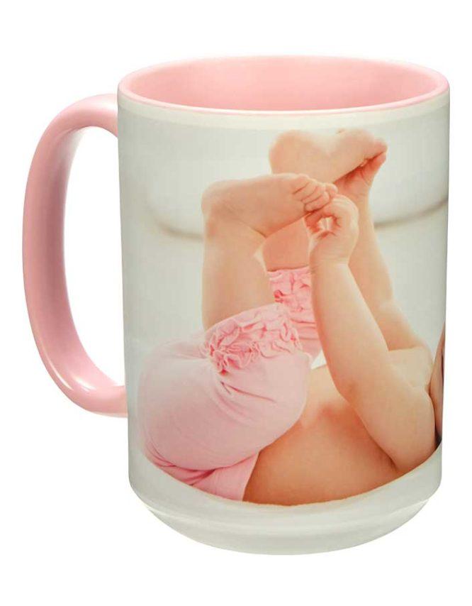 15oz pink photo mug