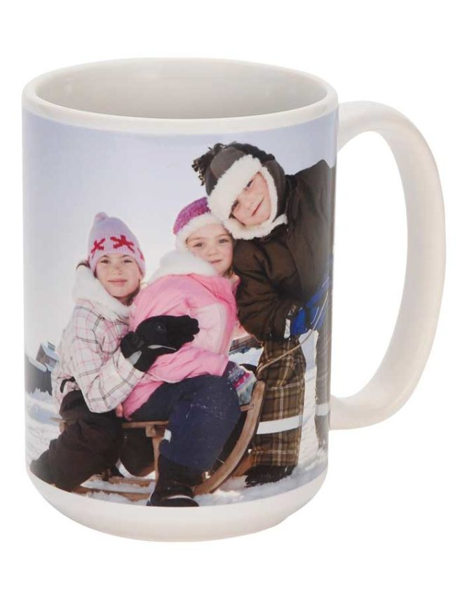 15oz white ceramic photo mug