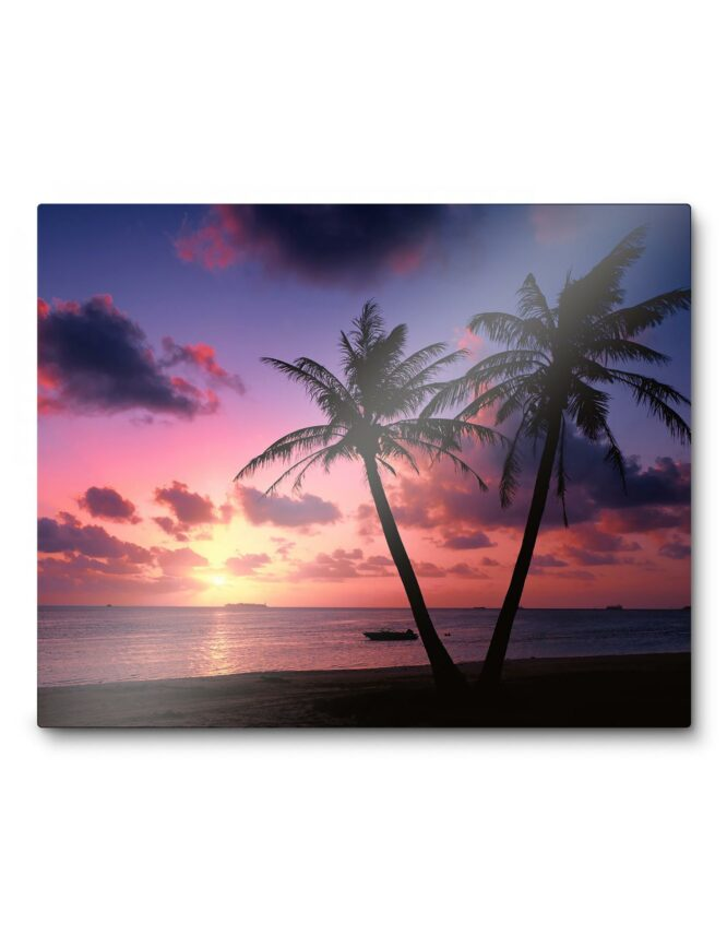 Metal Photo Print with palm tree beach scene from Goodprints