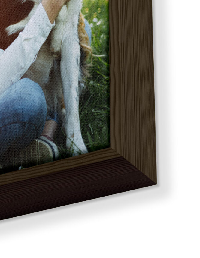 Framed Canvas Print with Brown Frame