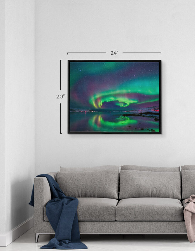 framed canvas in living room
