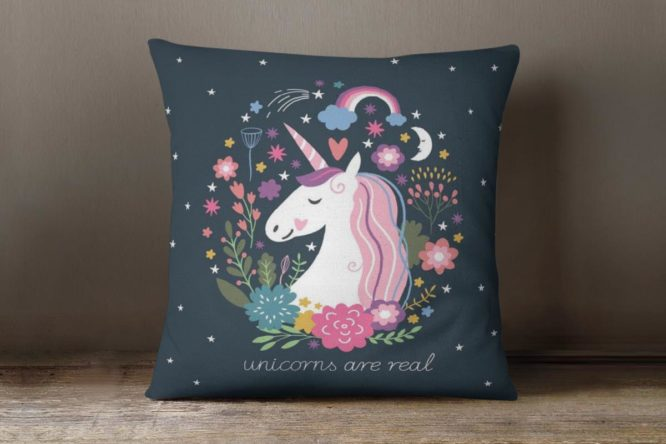 Navy Blue Unicorns Are Real Accent Pillow