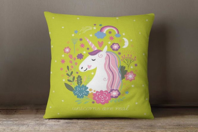 Green Unicorns Are Real Accent Pillow