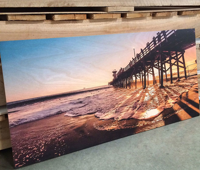 Custom Wood Print Sunset On The Beach