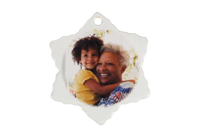 personalized christmas photo ornament ceramic snowflake