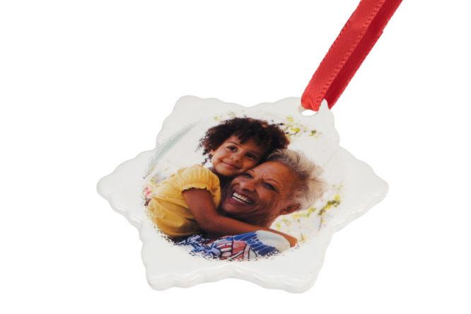 grandma and me photo ornament ceramic snowflake