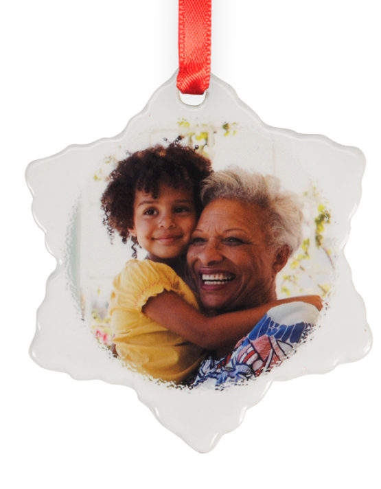 grandma and me photo ornament ceramic snowflake
