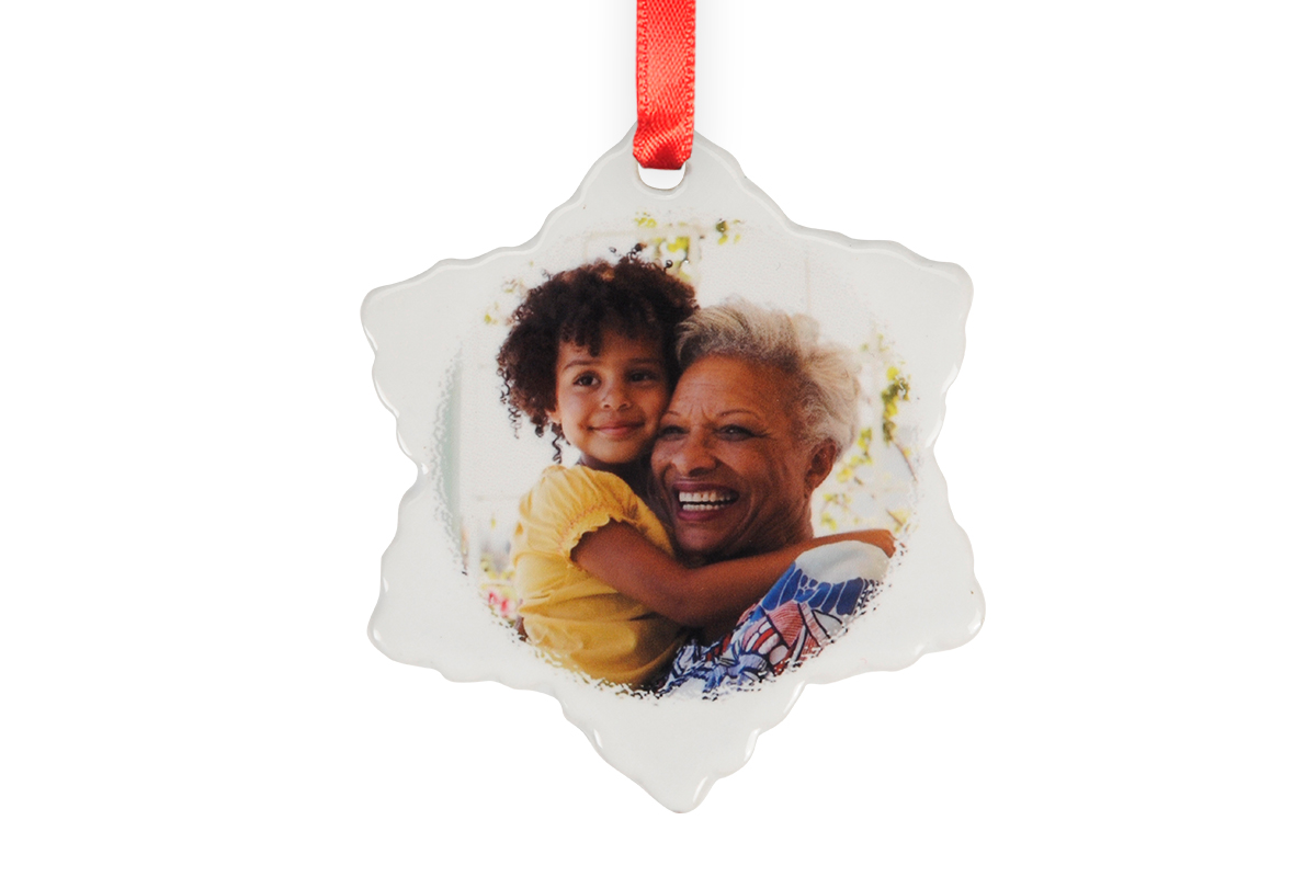 Shades of Yellow Polka Dot Snowflake Ceramic Ornament Ready to be Personalized