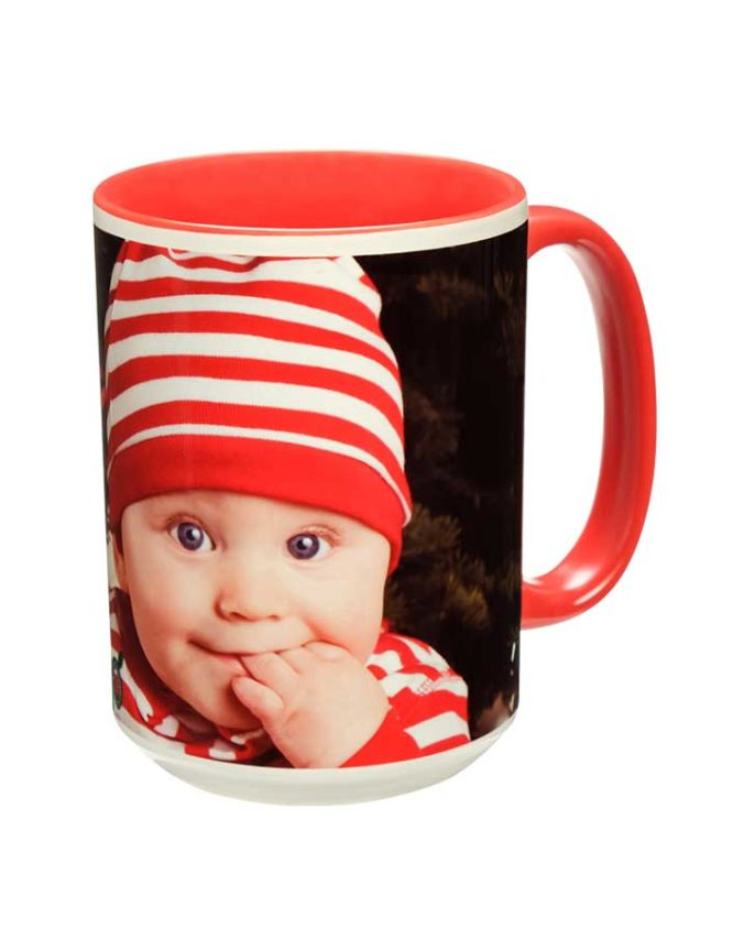 15oz red ceramic photo mug