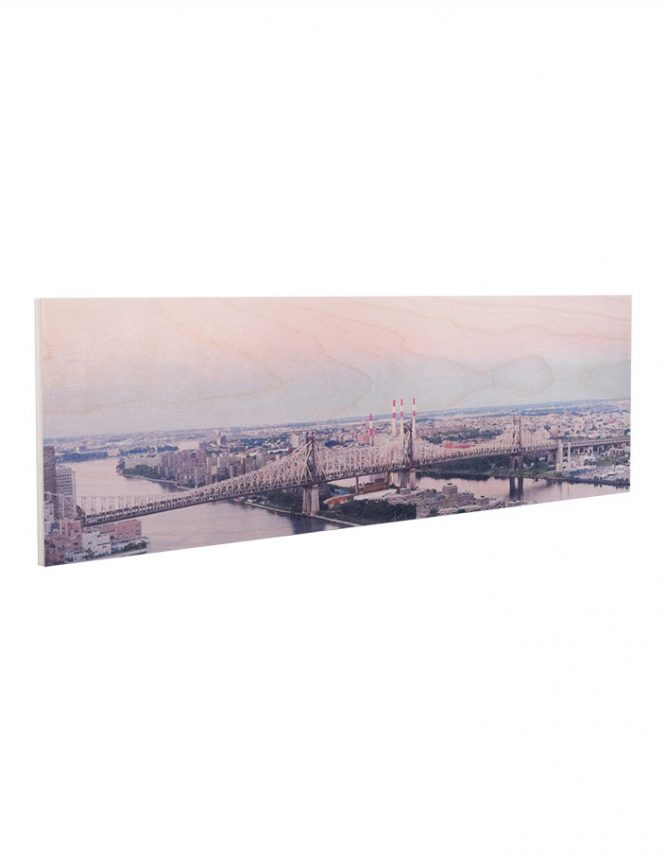 nyc bridge landscape on wood print