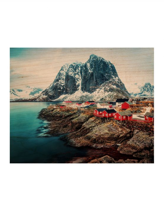 custom wood print norway landscape fishing village