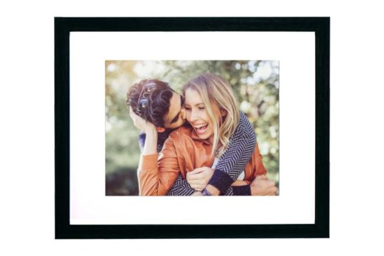 happy couple kissing framed and matted custom photo print