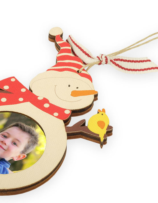 custom snowman photo ornament