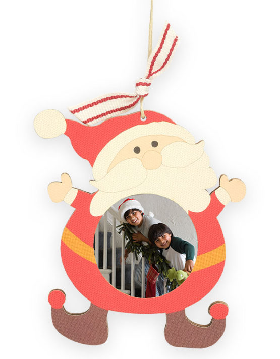 family photo print on wood santa ornament