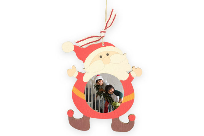 family photo print on wood santa ornament