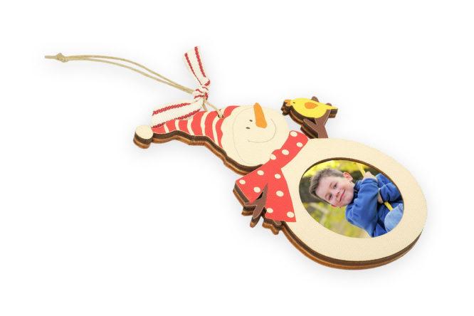 Wooden Snowman Photo Ornament 1