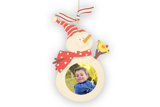 Wooden Snowman Photo Ornament 2