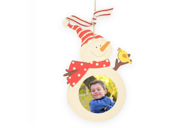 wooden snowman holiday photo ornament