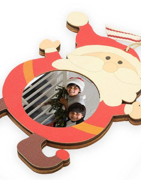wooden santa claus christmas photo ornament