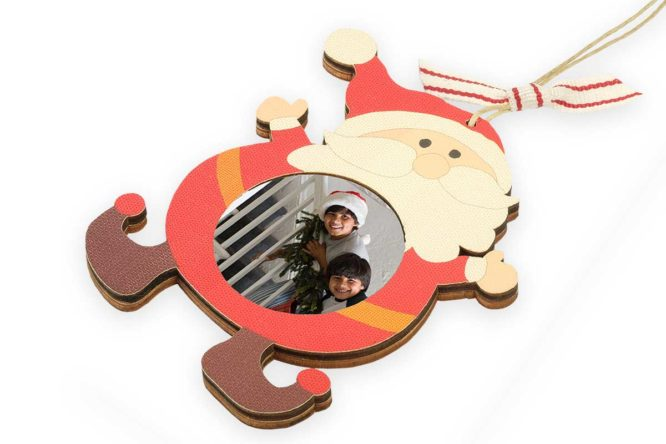 wooden santa claus christmas photo ornament