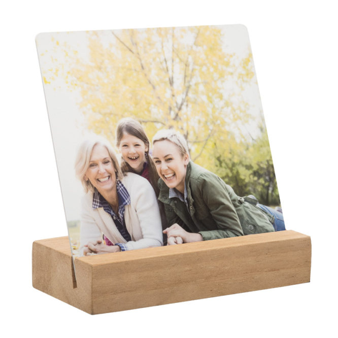 Desktop Metal Print in Real Wood Stand 1
