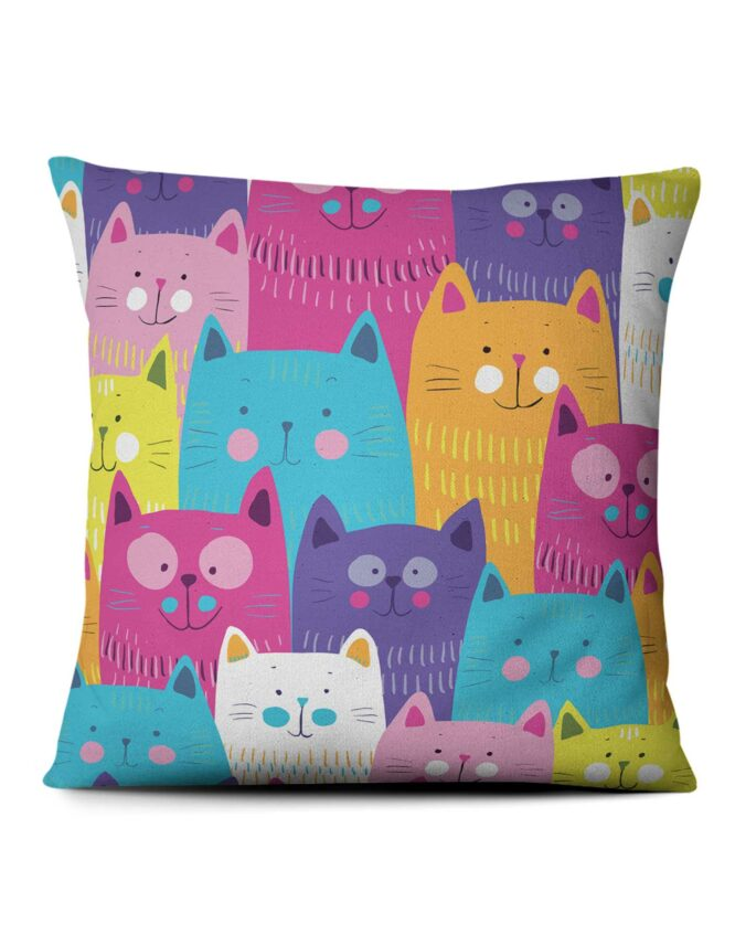 colorful cats pattern for kids photo pillow