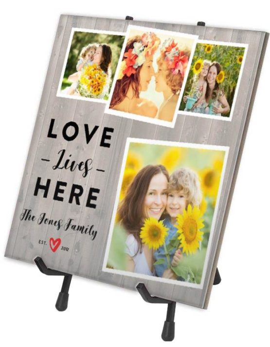 """Love Lives Here!"" Fun Ceramic Photo Tile"
