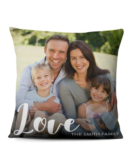 Love Script Personalized Family Pillow with Photo 4